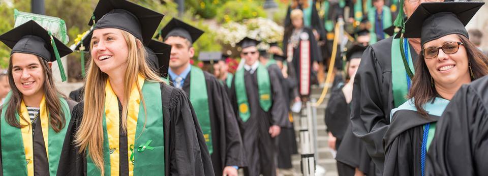 Graduates entering Redwood Bowl